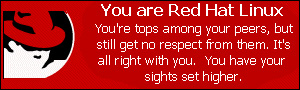 You are Red Hat Linux. You're tops among your peers, but still get no respect from them.  It's all right with you.  You have your sights set higher.