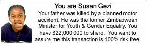 You are Susan Gezi.Your father was killed by a planned motor accident. He was the former Zimbabwean Minister for Youth & Gender Equality. You have $22,000,000 to share.  You want to assure me this transaction is 100% risk free.