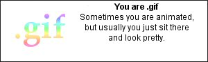 You are .gif Sometimes you are animated, but usually you just sit there and look pretty.
