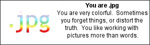 You are .jpg You are very colorful.  Sometimes you forget things, or distort the truth.  You like working with pictures more than words.