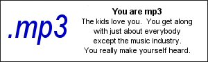 You are .mp3 The kids love you.  You get along with just about everybody except the music industry.  You really make yourself heard.