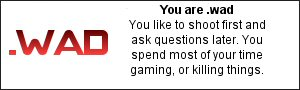 You are .wad You like to shoot first and ask questions later. You spend most of your time gaming, or killing things.