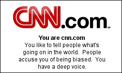 You are cnn.com    You like to tell people what's going on in the world.  People accuse you of being biased.  You have a deep voice.